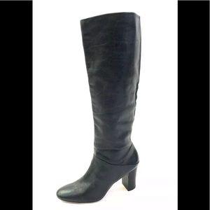 Banana Republic Black Leather Knee High Heel Boots